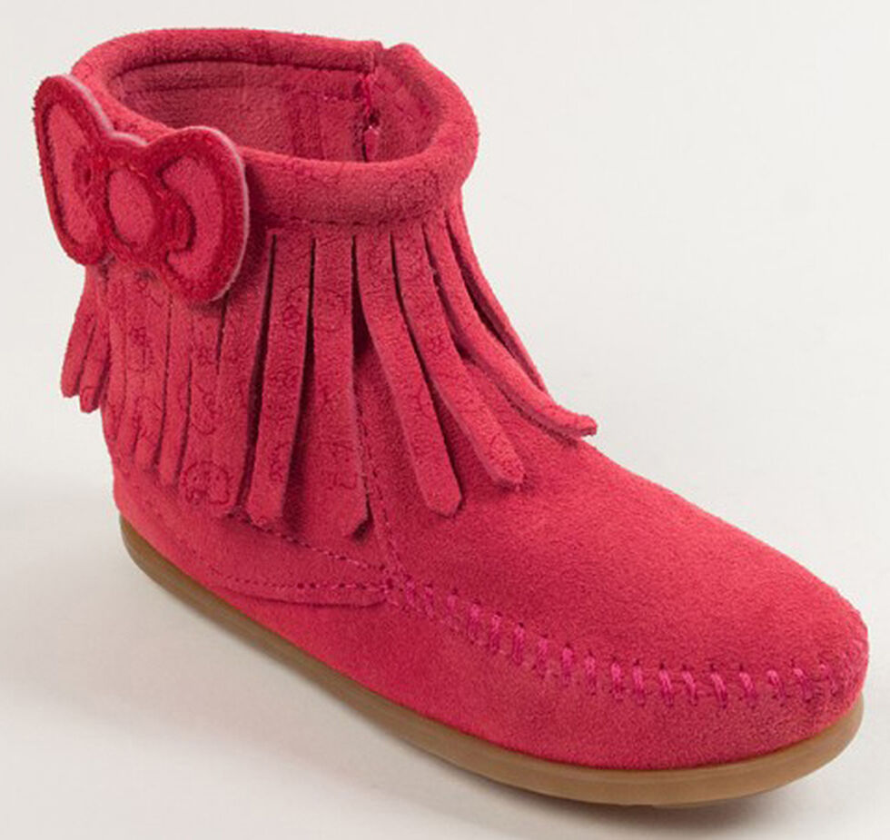 Minnetonka Girls' Hello Kitty Fringe Booties - Moc Toe, Hot Pink, hi-res