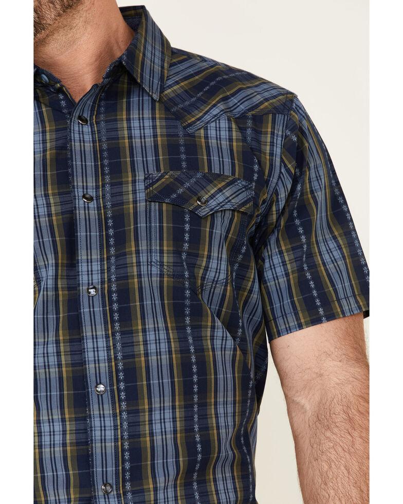 Moonshine Spirit Men's Mud On The Tires Large Plaid Short Sleeve Snap Western Shirt , Brown, hi-res