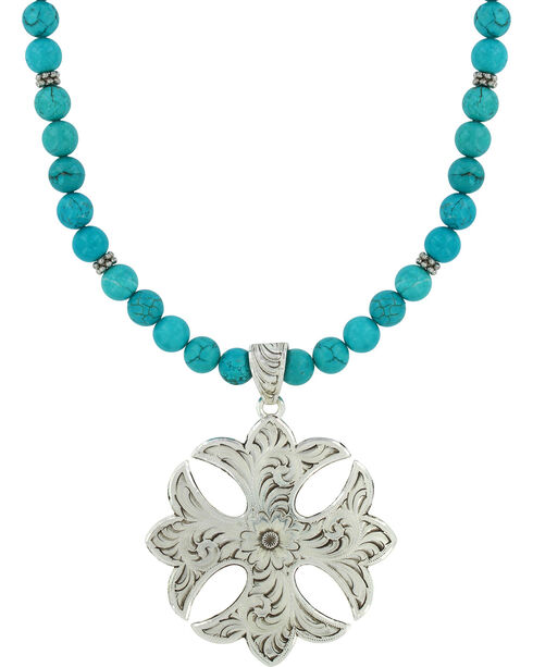 Montana Silversmiths Earth and Sky Cross Necklace, Silver, hi-res