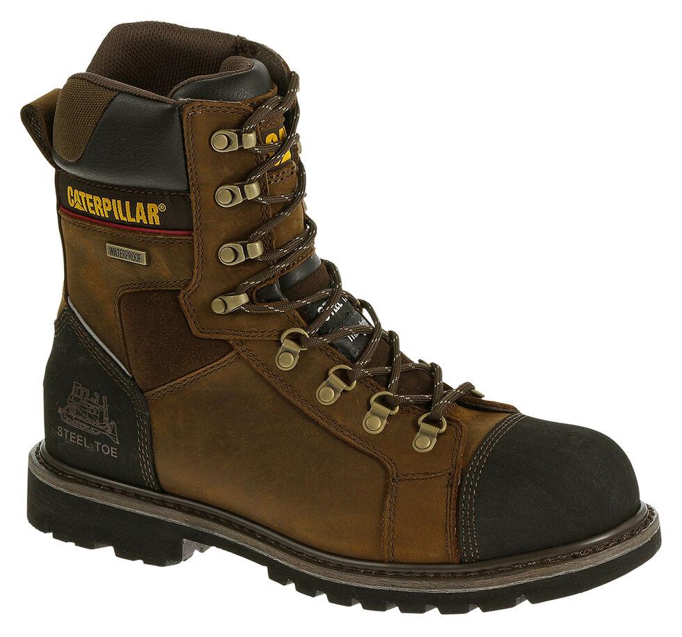 "Caterpillar Tracklayer 8"" Work Boots - Steel Toe, Dark Brown, hi-res"