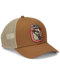 Justin Men's Tan Cowboy Crisis Fund Logo Patch Mesh-Back Ball Cap , Brown, hi-res