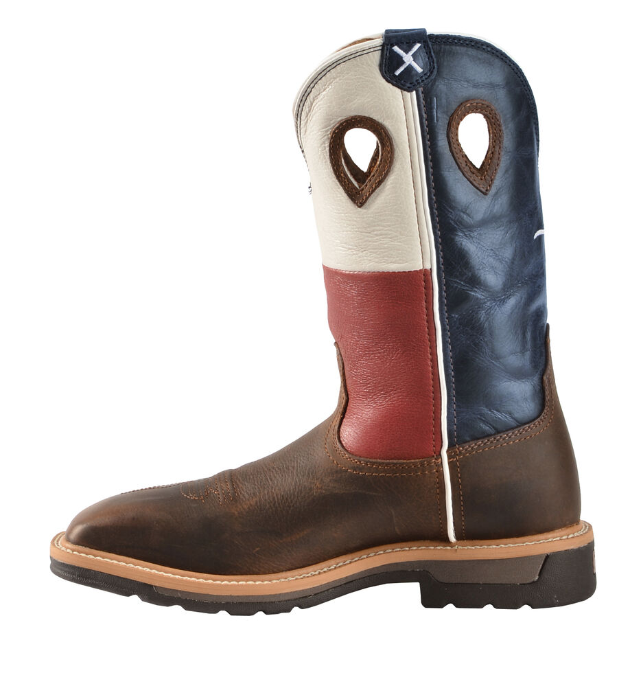 Twisted X Lite Texas Flag Pull-On Work Boots - Square Toe, Brown, hi-res