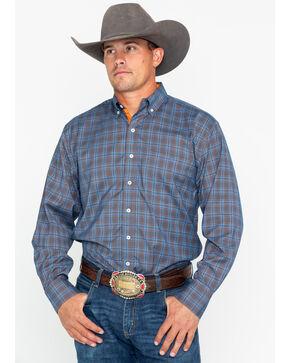 Resistol Men's Oelrich Plaid Long Sleeve Western Shirt , Blue, hi-res
