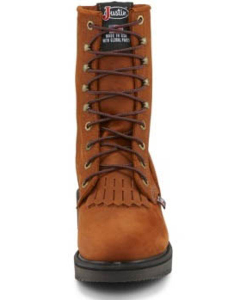 """Justin Men's Conductor 8"""" Lace-Up Work Boots - Soft Toe, Bark, hi-res"""
