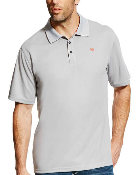 Ariat Men's Silver Tek SPF Short Sleeve Polo , Silver, hi-res