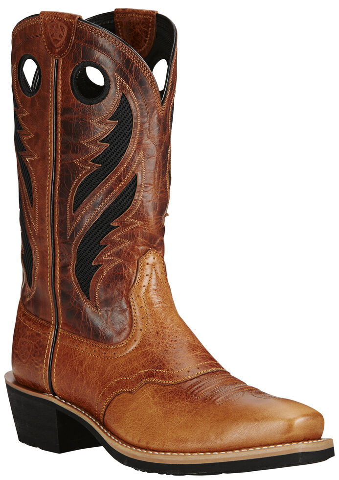 Ariat Men's VentTEK Heritage Roughstock Boots - Square Toe, Tan, hi-res