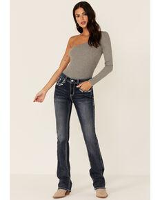Grace in LA Women's Dark Wash Floral Pocket Bootcut Jeans, Blue, hi-res