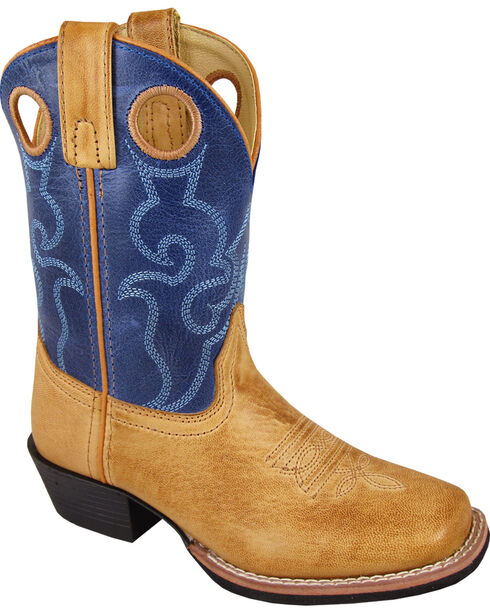Smoky Mountain Boys' Clint Western Boots - Square Toe , Brown, hi-res
