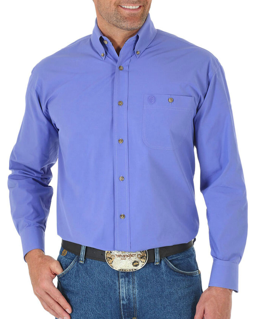 Wrangler Men's Purple George Strait Long Sleeve Shirt , Purple, hi-res