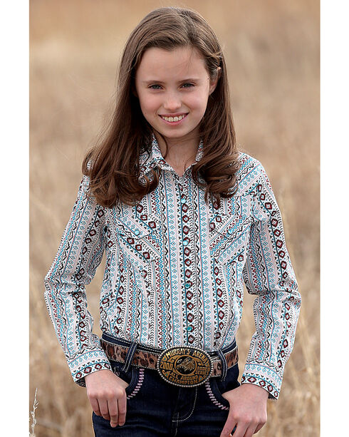 Cruel Girl Girls' Aztec Print Western Shirt , Multi, hi-res