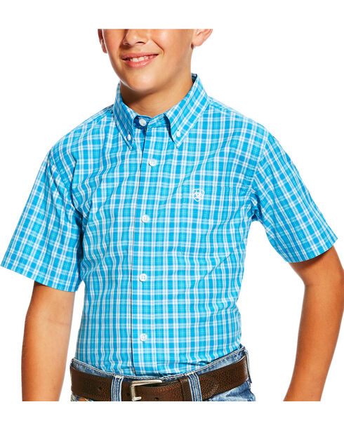 Ariat Boys' Pro Series Lawson Deep Aqua Plaid Short Sleeve Button Down Shirt, Aqua, hi-res