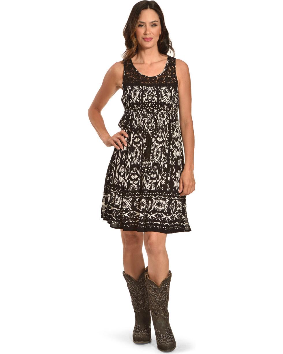 Bila Women's Black Printed Lace Trim Dress , Black, hi-res