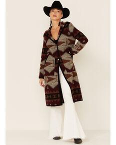 Circle S Women's Southwestern Blanket Hooded Duster, Rust Copper, hi-res