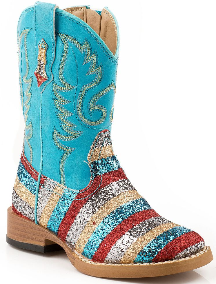 Roper Toddler Glittlery Striped Cowgirl Boots - Square Toe, Navy, hi-res