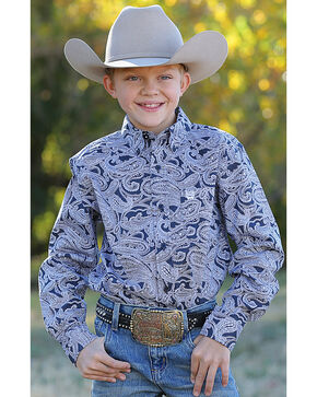 Cinch Boys' Navy Paisley Print Western Shirt , Navy, hi-res
