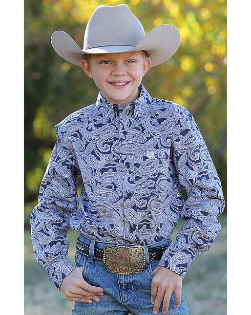 Cinch Boys' Navy Paisley Print Western Shirt , , hi-res
