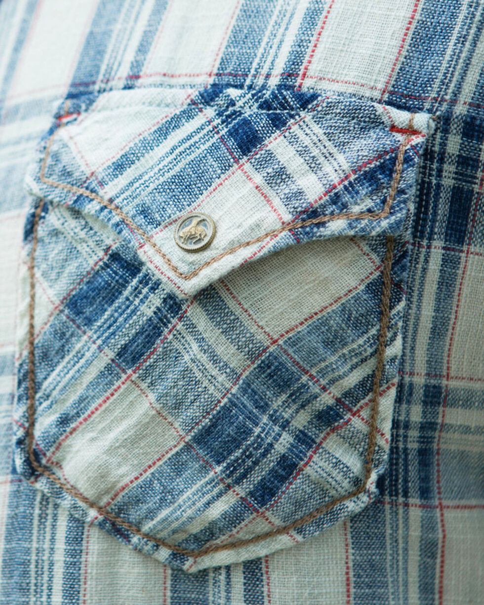 Ryan Michael Men's Indigo Ketchum Textured Plaid Shirt , Indigo, hi-res
