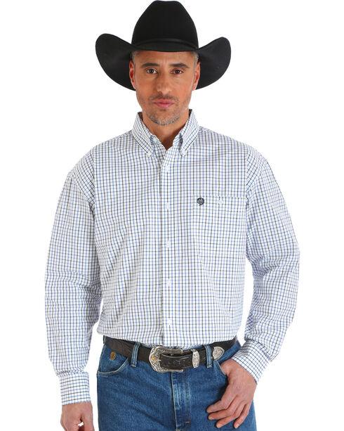 Wrangler Men's White George Strait Plaid Button-Up Shirt , White, hi-res