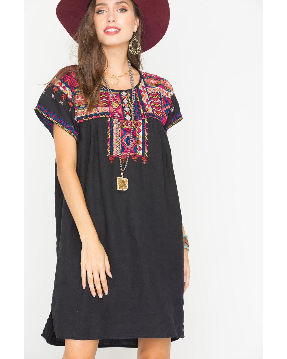 Johnny Was Women's Reld Pleated Peasant Tunic, Black, hi-res