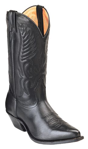 Boulet Fancy Stitched Cowboy Boots - Pointed Toe, Black, hi-res