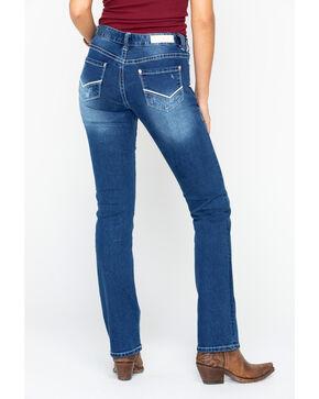 Rock & Roll Cowgirl Women's Boyfriend Ivory Stretch Boot Cut Jeans, Indigo, hi-res