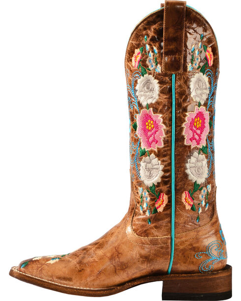 Macie Bean Rose Garden Cowgirl Boots - Square Toe, Honey, hi-res
