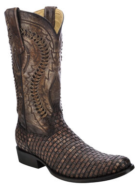 Corral Lizard Braided Vamp Cowboy Boots - Round Toe, Cognac, hi-res