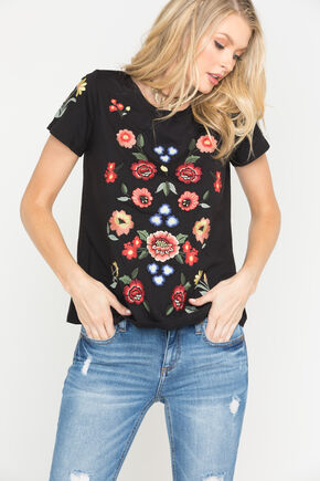 Miss Me Women's Black Floral Embroidered Top , Black, hi-res