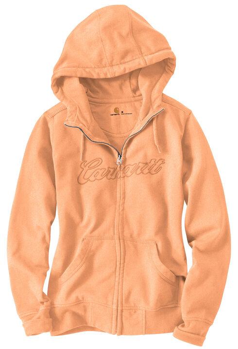 Carhartt Clarksburg Zip-Front Hooded Sweatshirt, Peach, hi-res