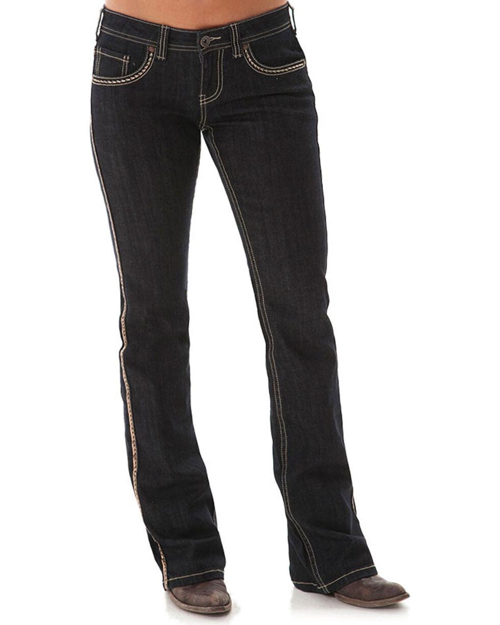 Cowgirl Tuff Women's Deep Dark Wash Gold Accent Jeans - Boot Cut, Dark Blue, hi-res