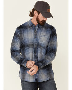 North River Men's Blue Barn Plaid Long Sleeve Western Flannel Shirt , Blue, hi-res