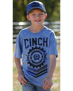 Cinch Boys' Short Sleeve Logo Jersey Tee, Blue, hi-res