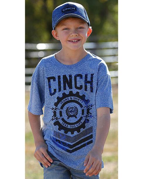 Cinch Boys' Short Sleeve Logo Jersey Tee, Blue, hi-res
