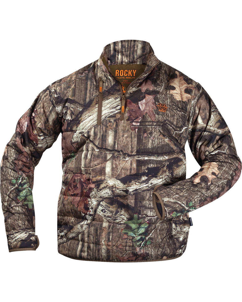 Rocky Men's Athletic Mobility Midweight Level 2 1/4 Zip Pullover, Mossy Oak, hi-res