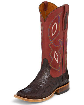 Tony Lama Women's Exotic Caiman Western Boots - Square Toe, Brown, hi-res