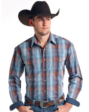 Rough Stock by Panhandle Men's Wolcott Vintage Ombre Plaid Long Sleeve Western Shirt, Brown, hi-res
