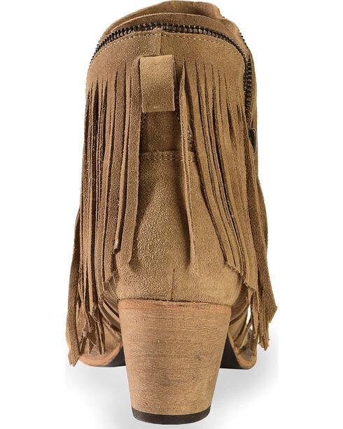 Dingo Women's JuJu Fringe Zipper Top Short Boots - Round Toe , Brown, hi-res
