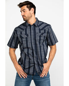Moonshine Spirit Men's Navy Caracol Plaid Short Sleeve Western Shirt , Dark Blue, hi-res