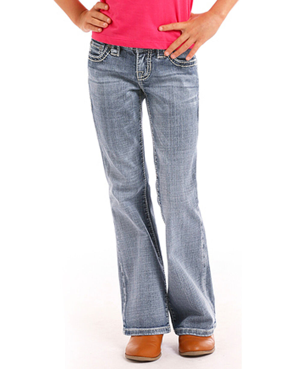 Rock & Roll Cowgirl Girls' (4-16) Abstract Flat Seam Jeans - Boot Cut , Indigo, hi-res