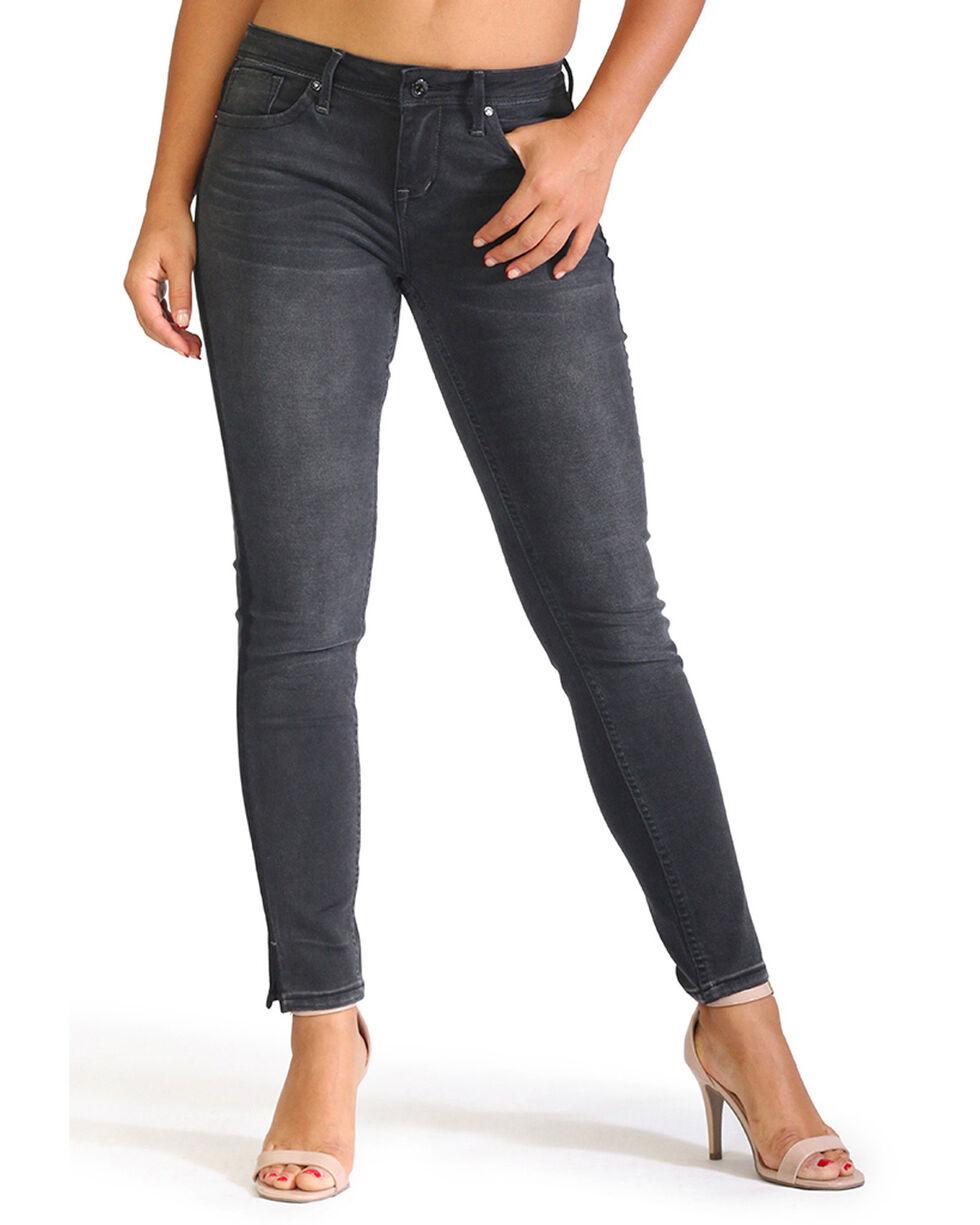 Grace in LA Women's Black Side Slit Skinny Jeans, Black, hi-res