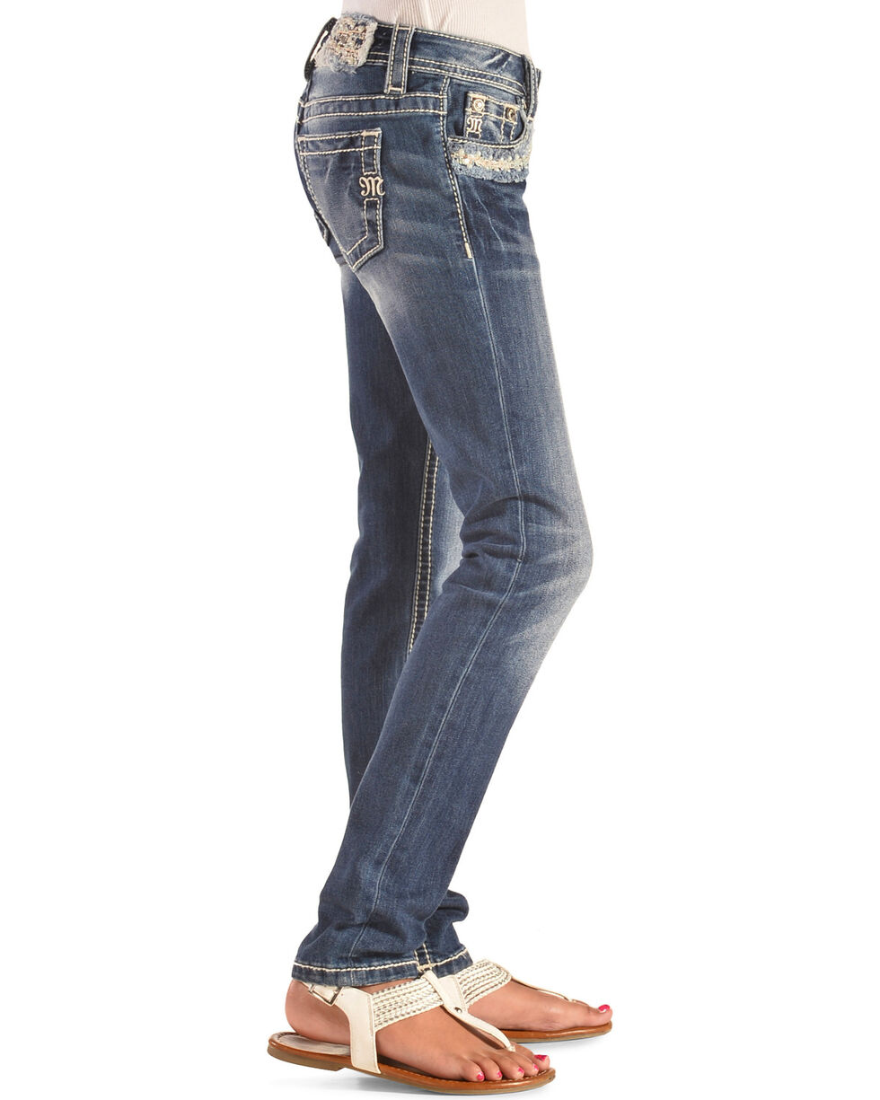 Miss Me Girls' Pearl Pocket Skinny Jeans, Indigo, hi-res