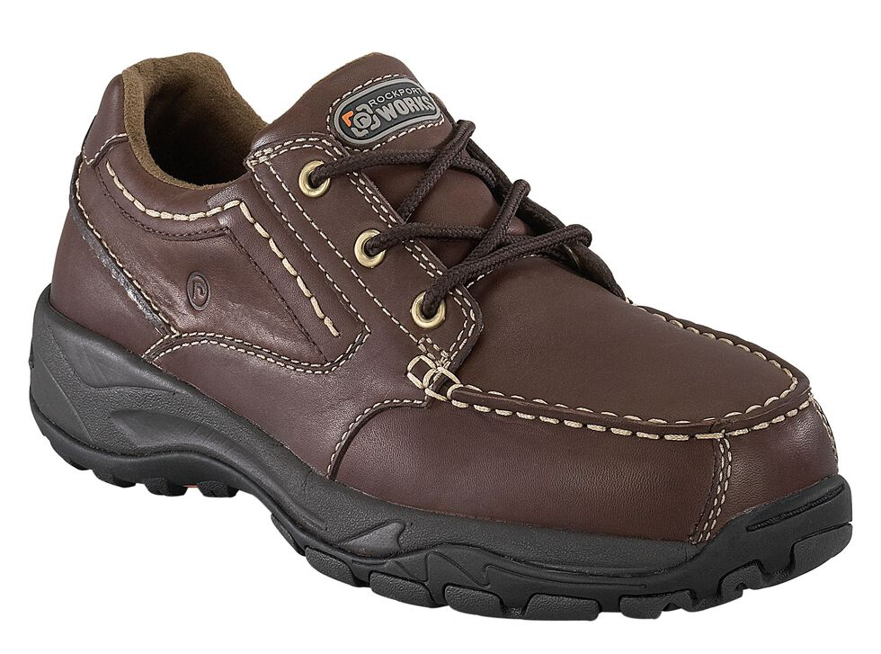 Rockport Works Extreme Light Casual 3-Eye Oxford Work Shoes - Composite Toe, Brown, hi-res