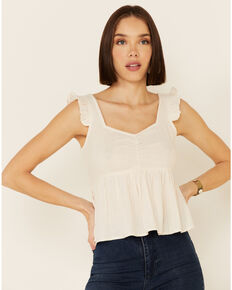 Shyanne Women's Off-White Babydoll Ruffle Short Sleeve Top , Off White, hi-res