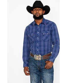 Rock & Roll Denim Men's Indigo Plaid Long Sleeve Western Shirt, Light Blue, hi-res