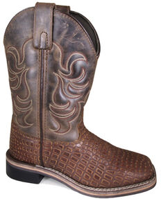 Smoky Mountain Youth Boys' Reptile Western Boots - Square Toe, Brown, hi-res