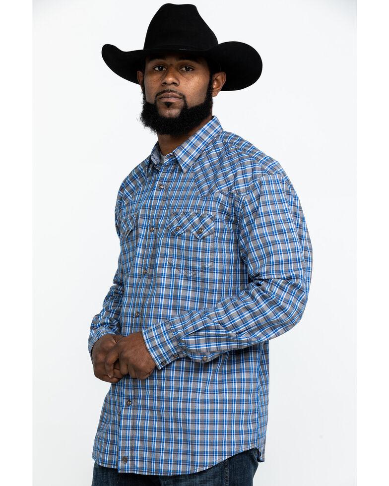 Moonshine Spirit Men's Hillbilly Plaid Long Sleeve Western Shirt , Brown/blue, hi-res