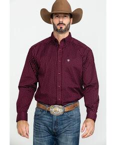 Ariat Men's Frostburg Small Geo Print Long Sleeve Western Shirt , Burgundy, hi-res