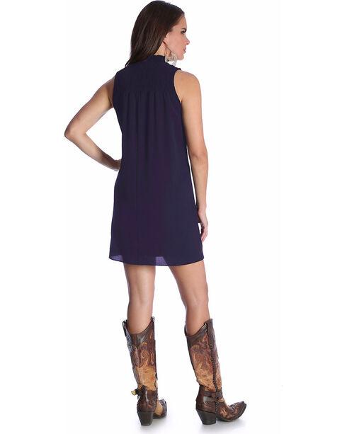 Wrangler Women's Sleeveless Smocked Neck Dress, Navy, hi-res