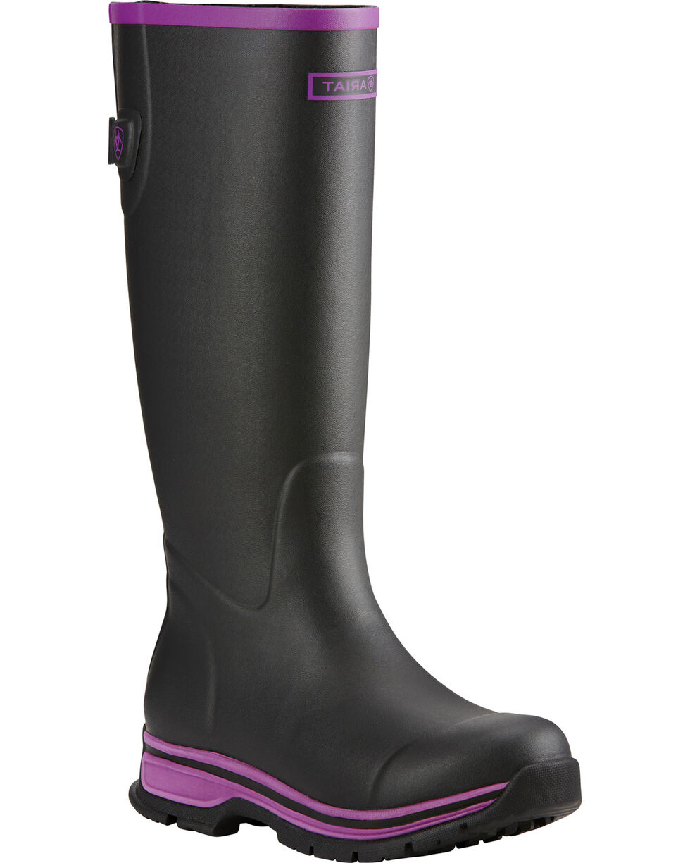 Ariat Women's Black Purple Fernlee Rubber Outdoor Boots, Black, hi-res