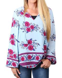 Shyanne Women's Floral Long Sleeve Blouse , Light/pastel Blue, hi-res